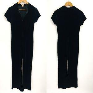 Vintage Black Short Sleeve Collared Jump Suit